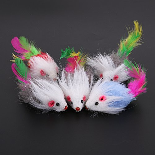 5pcs Furry Pet Cat Toys Mice Mouse Soft Feather Colorful Tails Pet Toys for Cats chic