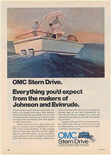 Omc Johnson Stern Drive - 1973 OMC Stern Drive Boat Motor From the Makers of Johnson and Evinrude Print Ad (Memorabilia) (61513)