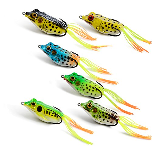 Pike Fishing Float (Supertrip Topwater Frog Crankbait Tackle Crank Bait Bass Soft Swimbait Lures Crankbaits Baits Hard Bait Fishing Lures Color 6pcs)