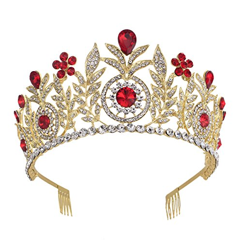 Santfe Vintage Gold Red Crystal Rhinestone Leaf Bridal Wedding Hair Tiaras Crown Headpiece Crown Jewelry -