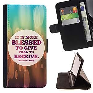 KingStore / Leather Etui en cuir / Sony Xperia M2 / BIBLIA Es Más bienaventurado es dar que Receive2 - Hechos 20:35