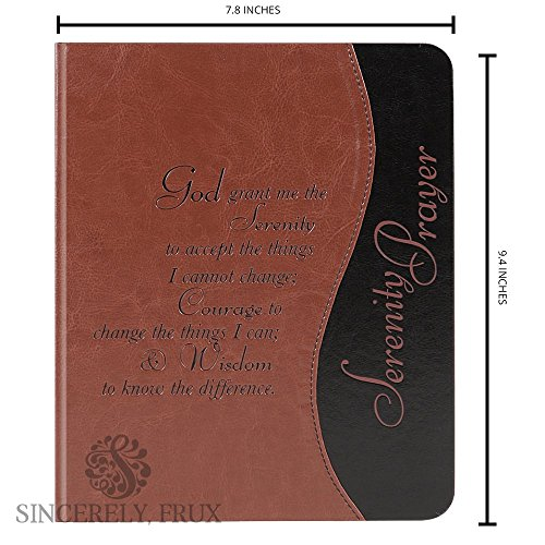 Inspirational Journal with Serenity Prayer quote engraved on the cover - acid free premium quality lightly lined...