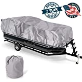 Pyle Armor Shield Trailer Guard Waterproof Pontoon Boat Cover, Marine Grade 300 Denier Polyester...
