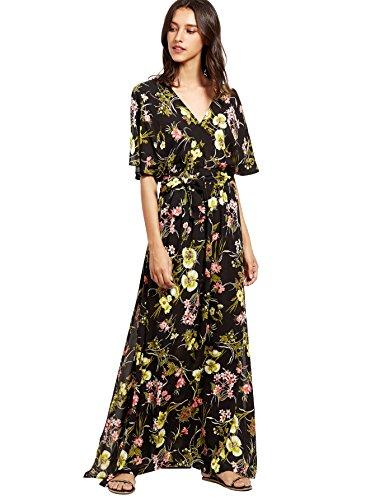 Milumia Women's Boho Split Tie-Waist Vintage Print Maxi Dress (Small, Black-4)