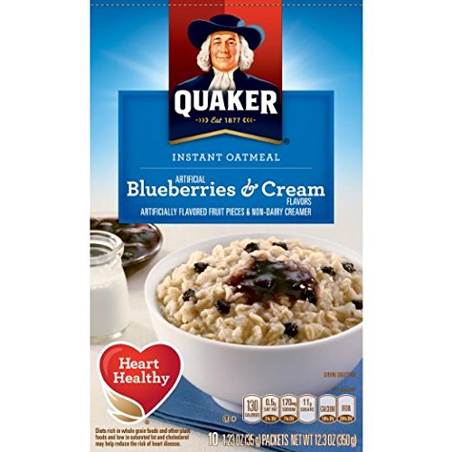 Quaker Instant Oatmeal Breakfast Cereal, Blueberries and Cream, 12.3 Ounce (Pack of 2)