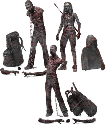 McFarlane Toys The Walking Dead TV Series 3 Bloody Black and White Michonne and Pet Zombie Action Figure, 3-Pack