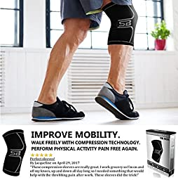 SB SOX Compression Knee Brace - BEST Knee Sleeve - Braces and Supports Knee for Meniscus Tear, Arthritis, Running, Knee Pain, Relief, & Support - For Men & Women (Medium)