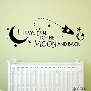 Amazon.com: I love you to the moon and back vinyl wall quote sayings ...