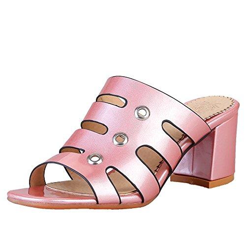 Vrouwen Open Teen Mode Casual Hoge Hak Sandalen Slippers Roze