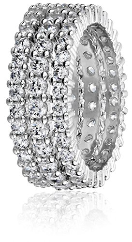 Sterling Silver Cubic Zirconia Eternity Band Stacking Rings (Set of 3), Size 6 by Amazon Collection (Image #3)