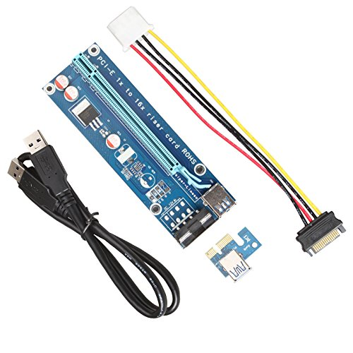 1 Pack V009S 6P // 4P // SATA with Led Graphics Extension Ethereum ETH Mining Powered Riser Adapter Card+60cm OD5.5 USB 3.0 Cable Relper-Lineso V009S Latest PCI-E Riser Express Cable 16x to 1x
