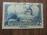 Old French windmill postage stamp%2C 2 F