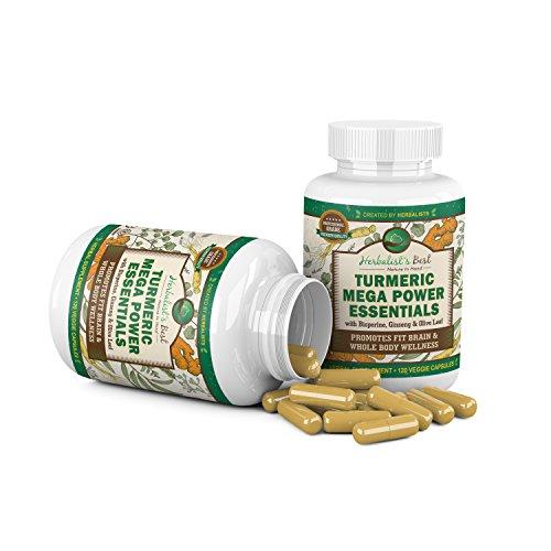 Turmeric Curcumin Ginseng Olive Leaf Bioperine 2235mg/day Mega Power Essential Extract by Herbalist's Best 95% Curcuminoids 100% Natural Immune Booster Anti Inflammatory Anti Aging Antioxidant