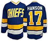 #17 Steve Hanson Brothers Slap Shot Movie Charlestown Chiefs Blue Hockey Jerseys