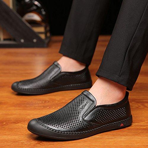 Personas Huecos pedaleo Black Hombres Zapatos Judías Perezoso Sandalias Masculinas Transpirables IUZdq