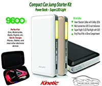 Kinetic Brand 9600 mAh Mini Car Jump Starter Powerful Booster Phone Charger Bright LED Flashlight Emergency Kit Starts Car Charges Phones & Tablets Includes Safety-LED Jumper Cables & Pouch.
