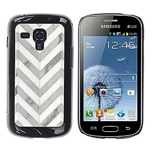 Be Good Phone Accessory // Dura Cáscara cubierta Protectora Caso Carcasa Funda de Protección para Samsung Galaxy S Duos S7562 // Chevron White Gray Metal 3D Pattern