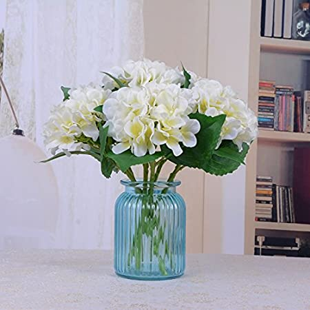 ZL-fzh Simulación De Europeo De Flores Decorado Sala Home Furnishing Hortensia Flores Decorar Dormitorio Cuadro Florero De Cristal,Drop Bottle Set: ...