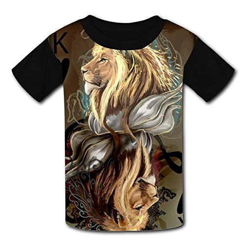 O-Neck 100% Polyester Fiber Soft Short Sleeve Top T-Shirt For Unisex Child,Print Lion L - Lion O Costume Make