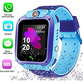 Smart Watch for Kids GPS Tracker - IP67 Waterproof Smartwatches with SOS Voice Chat Camera Flashlight Alarm Clock Digital Wrist Watch Smartwatch Girls Boys ...