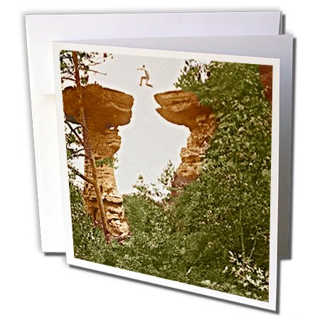 Sandy Mertens Wisconsin - Vintage 1899 Wisconsin Dells Stand Rock - 6 Greeting Cards with envelopes (gc_21679_1)