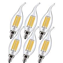 INNOCCY E12 LED 6 Watt Dimmable Candle Light Bulb, Bent Tip Shape Candelabra Base Lamp, 2700K Clear Warm White, for Chandelier Crystal Light, Ceiling Fan Lighting, 6 Pack