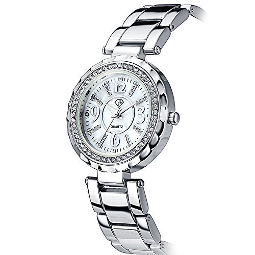 Link Silver Wrist Watch - Women Bracelet Watch Luxury Crystal Wrist Watches Ladies Classic Dial Quartz Wristwatch (Silver)