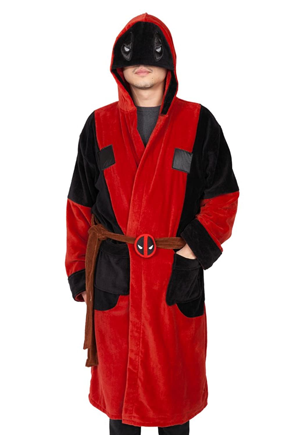 0af6366002 Marvel Deadpool Deluxe Exclusive Adult Hooded Terry Robe Multi One Size