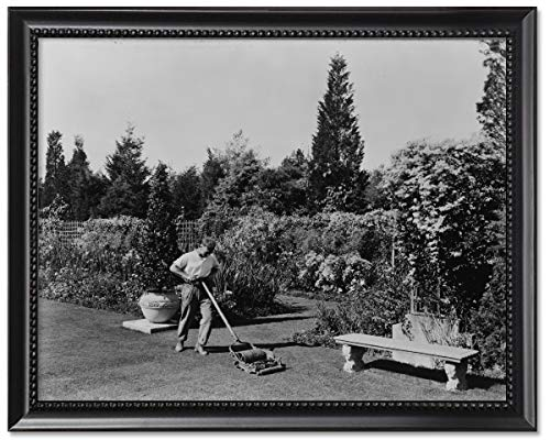 ClassicPix Framed Print 11x14: Gardener Pushing Lawn Mower, Posed to Illustrate Rudyard Kipling's.