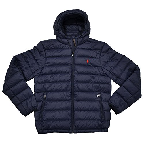 Polo Ralph Lauren Mens Full Zip Hooded Puffer Jacket (XXL, Aviator Navy) ()