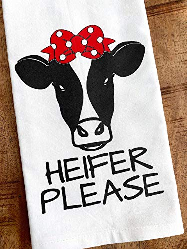 Funny Kitchen Towel Heifer Please Cow with Red Bow