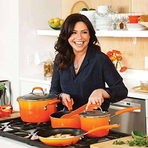 Rachael Ray Classic Brights Hard Enamel Nonstick 10-Piece Cookware Set, Orange