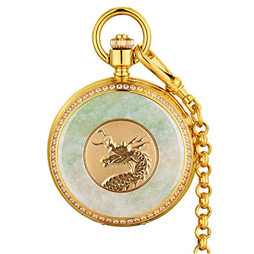 (JHHXW Pocket Watch Hetian Jade Emerald Men's Vintage Flap Mechanical Pocket Watch Gold Watch Dragon Watch/Commemorative Gold,Dragon)