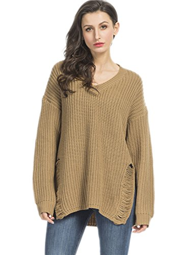 Choies Women's Khaki V-neck Ripped Knit Jumper Distressed Knitted Sweater Pullover M