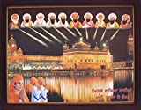 HandicraftStore Sikh Religious Ten Gurus Giving Blessing Over Golden Temple in Amritsar, A Poster Painting with Frame for Sikh Religious Office/Home