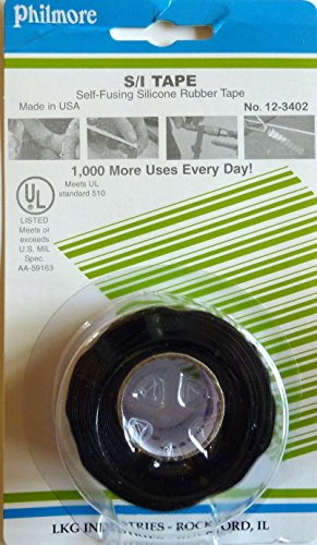 Philmore Self-fusing Black Silicone Rubber Emergency Repair Tape Seals Insulates Waterproofs, 1' X 10ft by Philmore