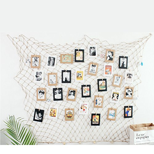 WOWOSS Photo Hanging Display Frames, 79 x 40inch Mediterranean Fishing Net Wall Decorations with 50 Clips and 10pcs Hidden (Fishing Memories Photo)