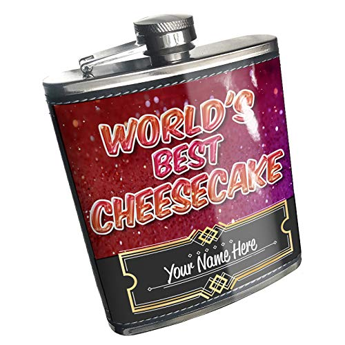Neonblond Flask Worlds best Cheesecake, happy sparkels Custom Name Stainless Steel