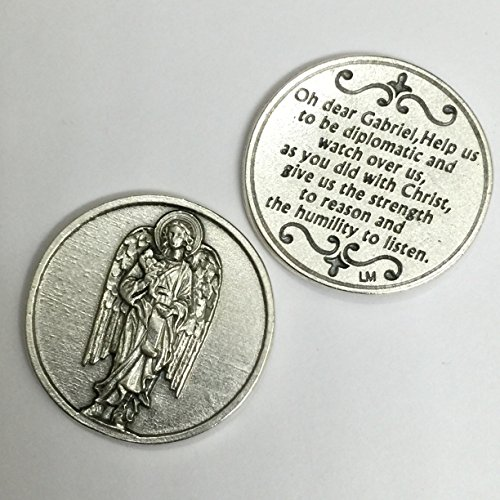 Archangel Saint St Gabriel Pocket Token Coin Protection Protect Catholic Charm with Prayer Medal Religious Pray 1 1/8