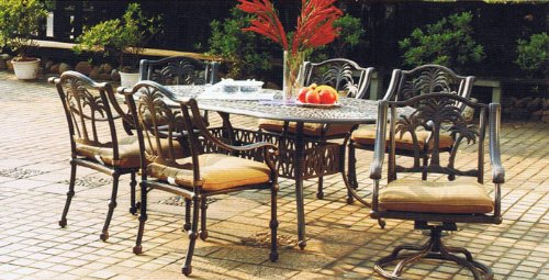 Tropitone Aluminum Oval Table - Heritage Outdoor Living Palm Tree Cast Aluminum 7pc Outdoor Patio Set with 42