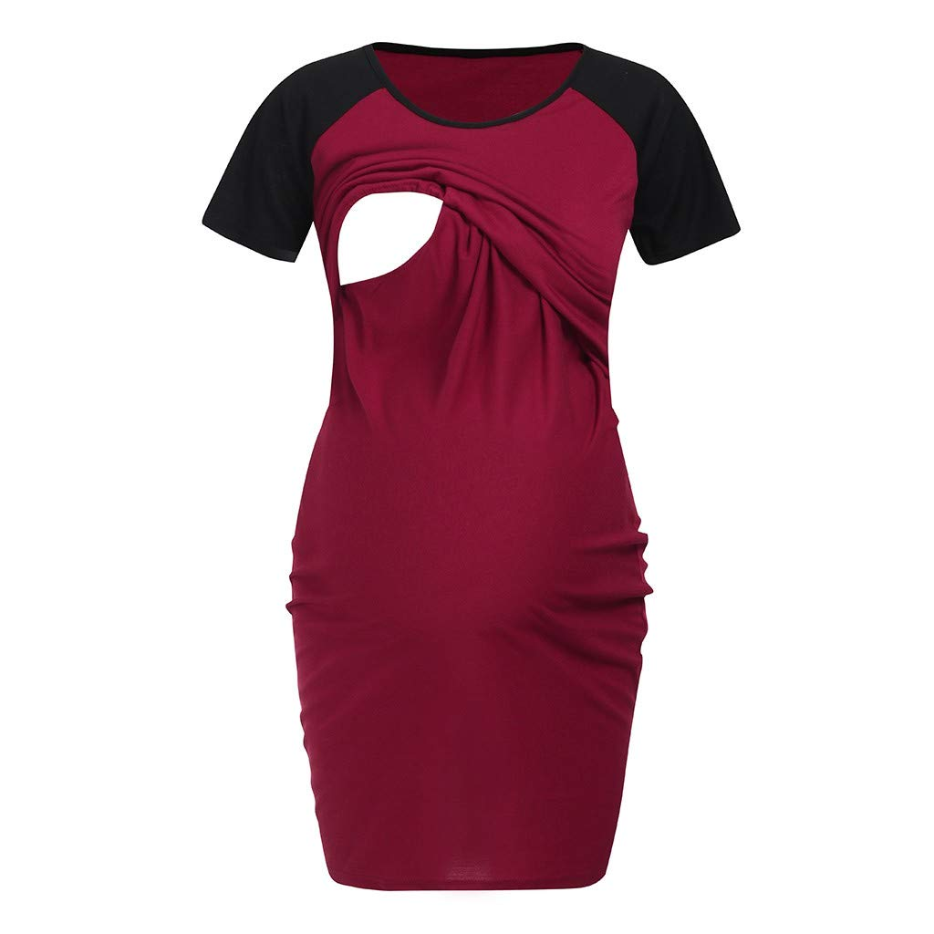 Maternity Shirts with Sayings,Women's Maternity Dress Nursing Nightgown Breastfeeding Nightshirt Sleepwear,Red,XL