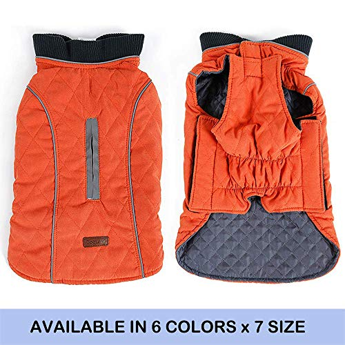 Snow Dog Sweater - FOREYY Reflective Dog Coats with Leash Harness Attachment Hole - Winter Vest Jackets for Small Medium Large Dogs Windproof Snowsuit Cold Weather Pet Apparel Clothes Sweaters(Orange,XS)