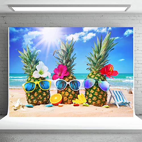 7x5ft Summer Beach Backdrop for Photography Tropical Hawaiian Seaside Funny Pineapple Party Background Birthday Baby Shower Theme Backdrops Party Banner Supplies Photo Booth Props