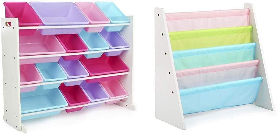 White//Pastel X /& Kids Book Rack Storage Bookshelf Pastel Collection White//Blue//Pink//Purple Extra-Large Toy Organizer 16 Storage Bins Humble Crew