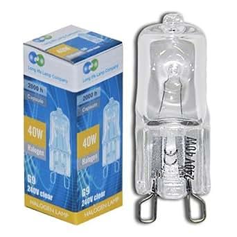 Long Life Lamp Company G940WC10P - Bombilla de cápsula halógena de bajo consumo, casquillo G9, 40 W, 240 V, 10 unidades