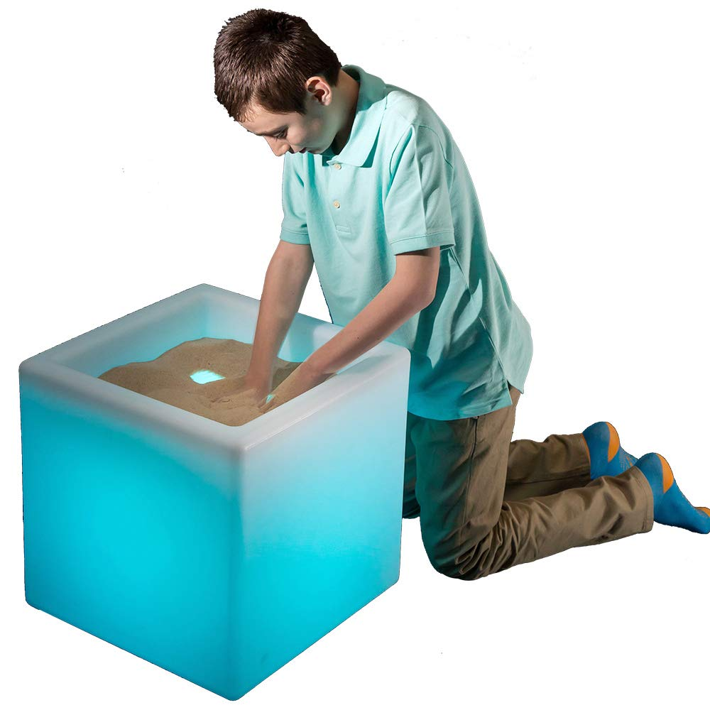 Fun and Function LimeLite LED Sand Table – Plastic Table Features a Soft LED Glow with 16 Color Options for Ages 4 & Up - 18 inch
