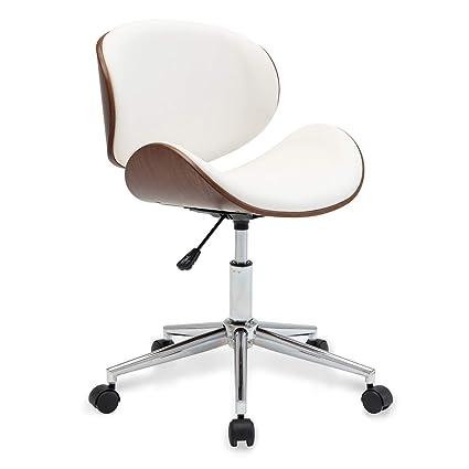 Belleze Living Room Office Contemporary Chrome Metal Adjustable Swivel Desk  Chair, White