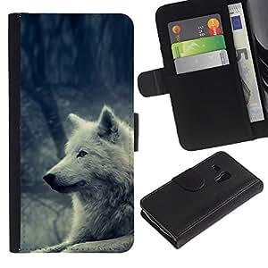 iKiki Tech / Cartera Funda Carcasa - White Wolf Magical Forest Nature Dog - Samsung Galaxy S3 MINI NOT REGULAR! I8190 I8190N