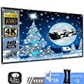 120 inch Projector Screen, P-Jing 16:9 HD Foldable Portable Anti-Crease Indoor Outdoor Projector Movies Screen for Home Theater Support Double Sided Projection