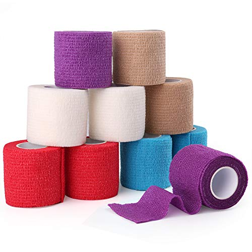 Cohesive Bandage, 2 Inches x 5 Yards, 10 Rolls, Self Adherent Wrap, First Aid Tape, Elastic Self Adhesive Tape, Medical Supplies for Sprain Swelling and Soreness, Assorted Colors ()